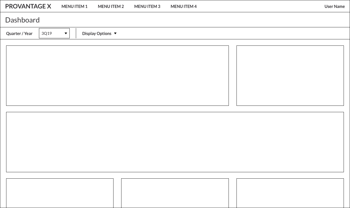 Initial wireframe for the new dashboard landing page