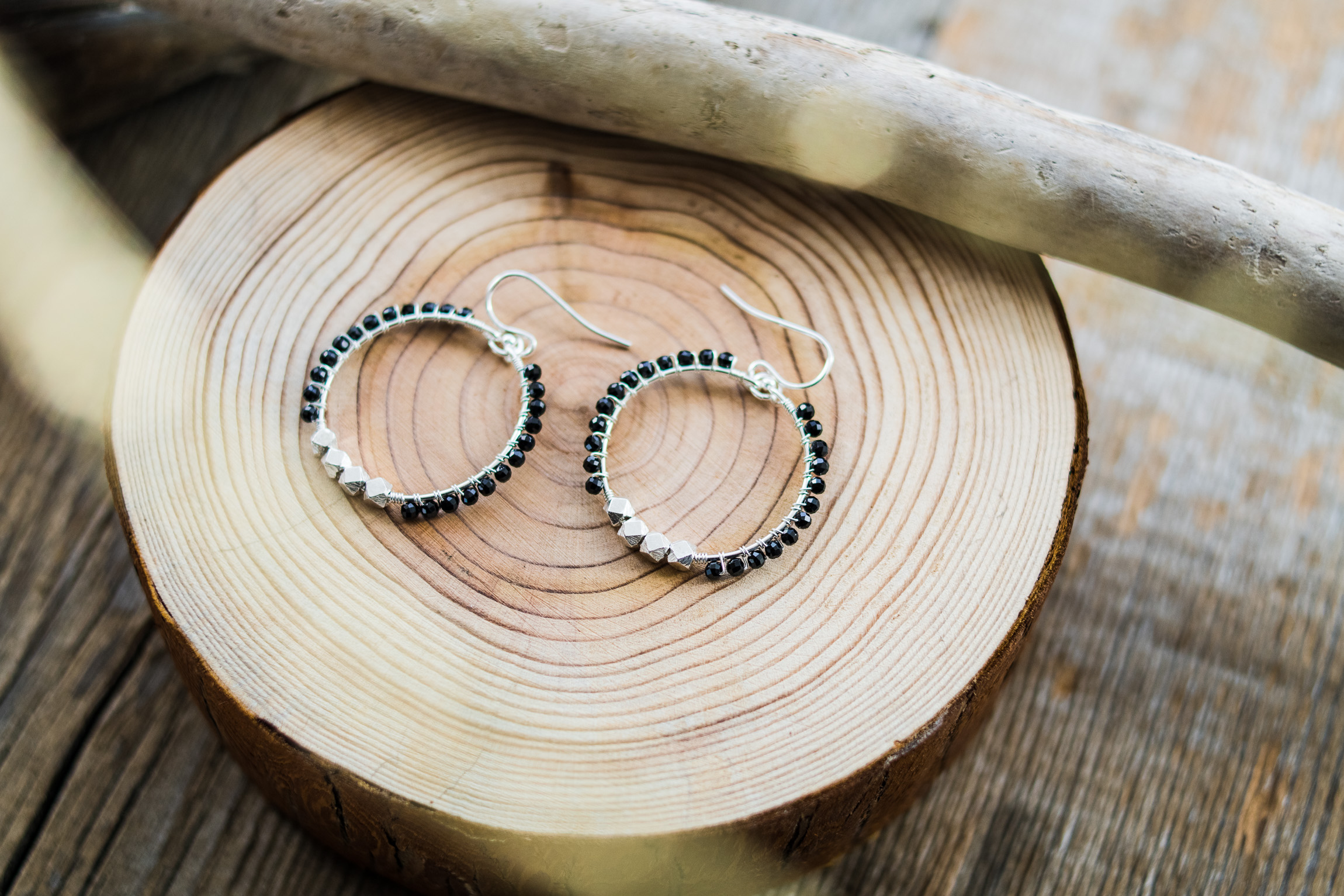 Black Spinel Hoop Earrings