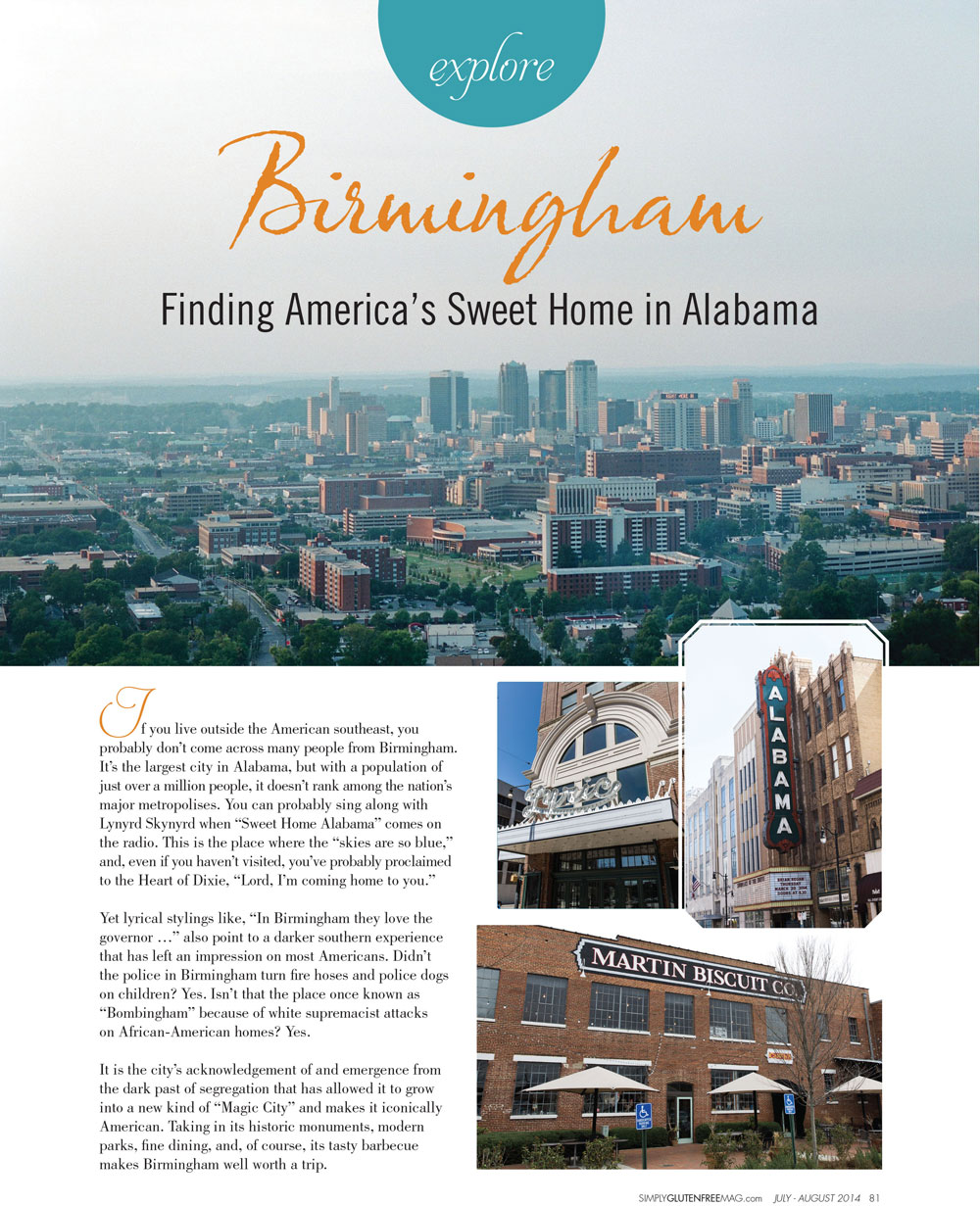 Opening spread of the story on Birmingham for  Simply Gluten Free . Photos by  Stephen DeVries .