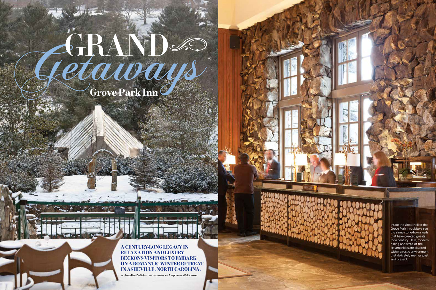 Inside the Great Hall of the Grove Park Inn, visitors see the same stone-hewn walls that have greeted guests for a century. Here, modern dining and state-of-the-art amenities are situated within a rustic environment that delicately merges past and present.