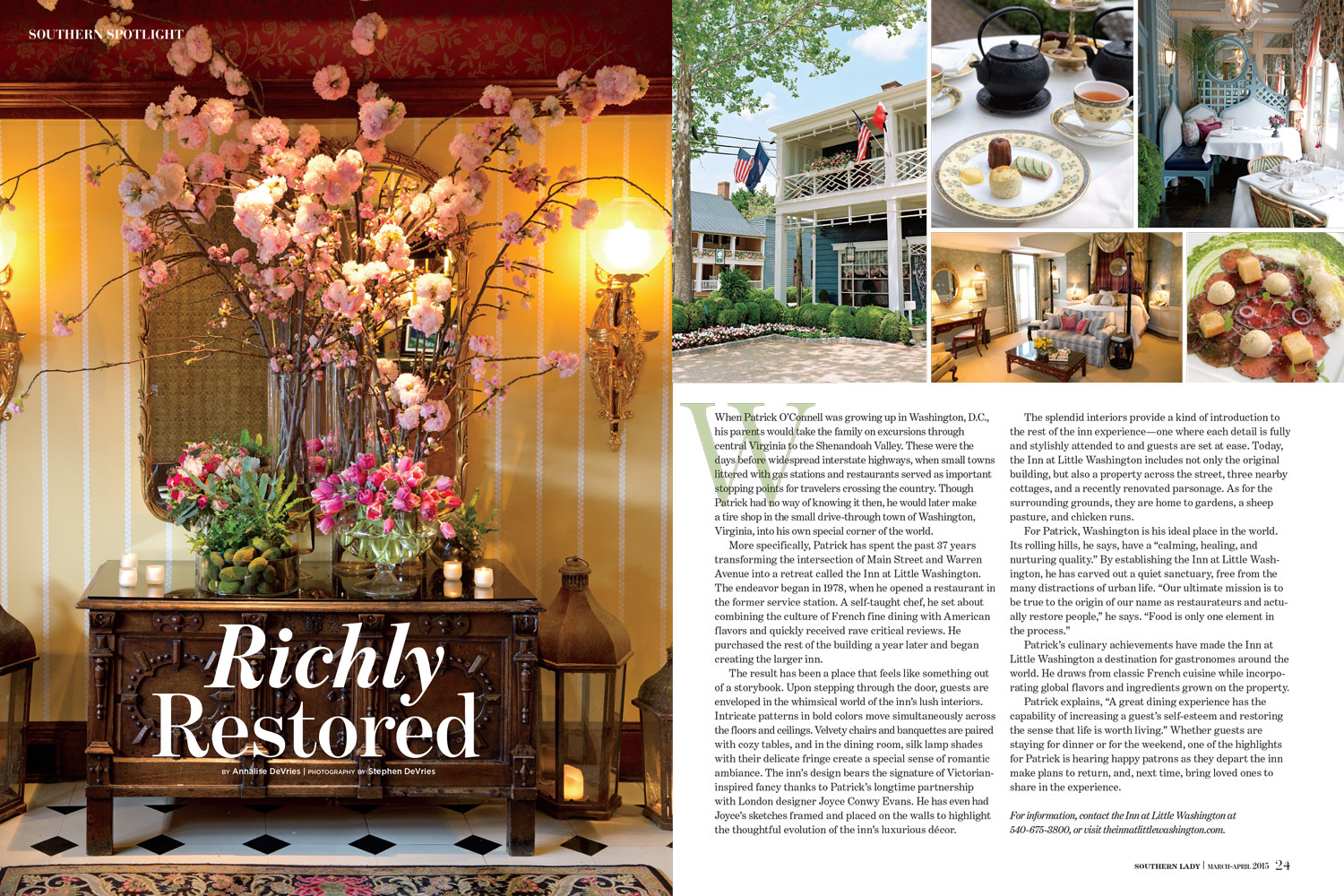 The Southern Spotlight story on the Inn at Little Washington from the March/April issue of  Southern Lady . Photos by Stephen DeVries.