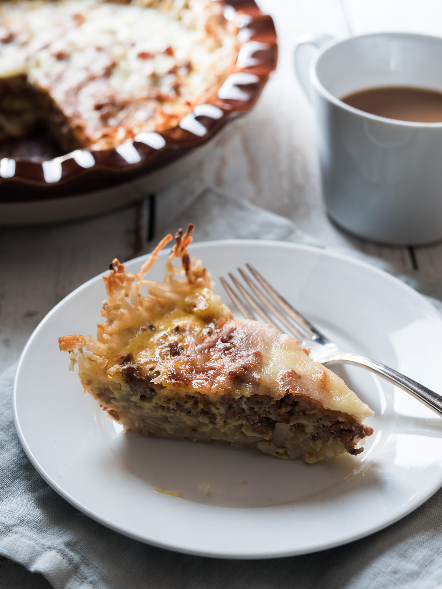 Breakfast casserole that I food and prop styled for   Simply Gluten-Free Magazine  . Photo by  Stephen DeVries .
