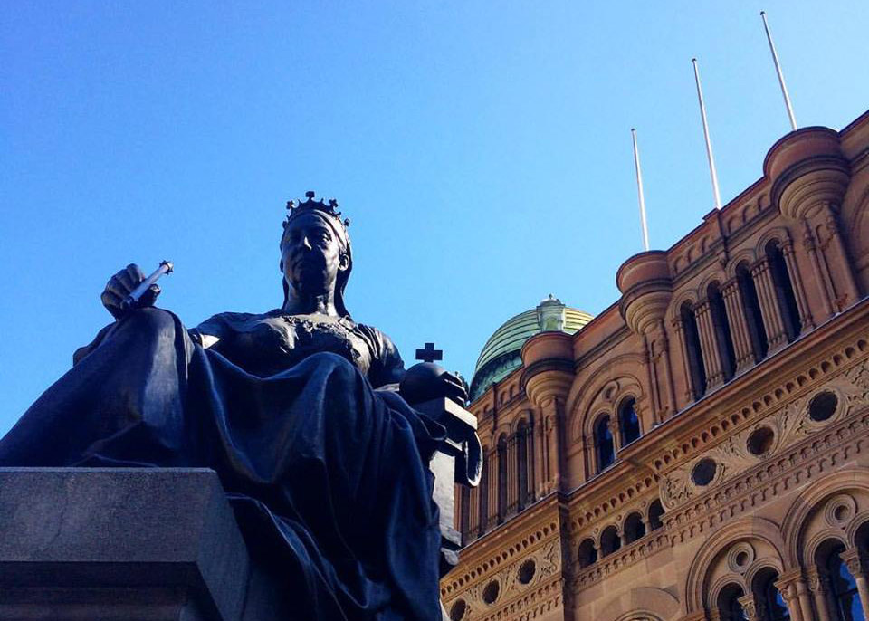 A snapshot of the sculpture of Victoria with the Queen Victoria Building in the background — the start of today's journey.