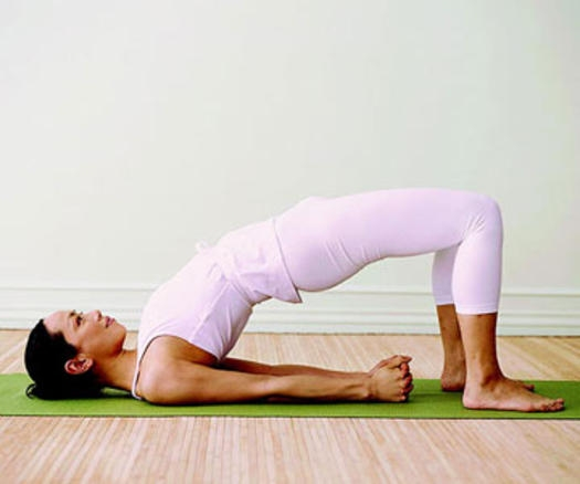 Bridge Pose. Stimulates digestions and metabolism. Strengthen muscles and bones.