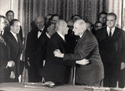 Adenauer and de Gaulle -- an inconceivable embrace.