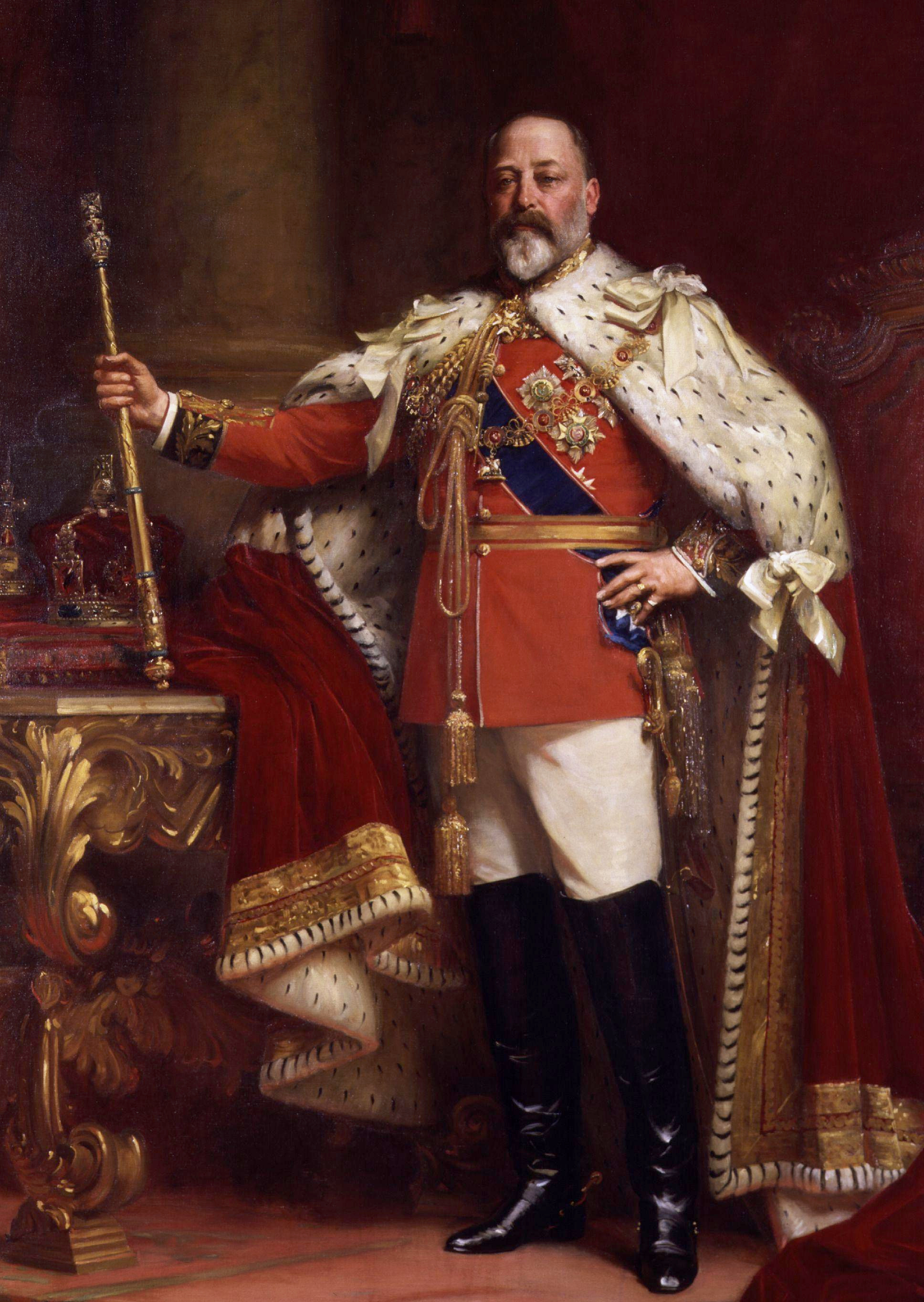 King Edward VII in his coronation robes.