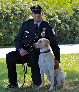 Socks, one of the famous  Penn Vet Working Dogs , with Officer DePallo.