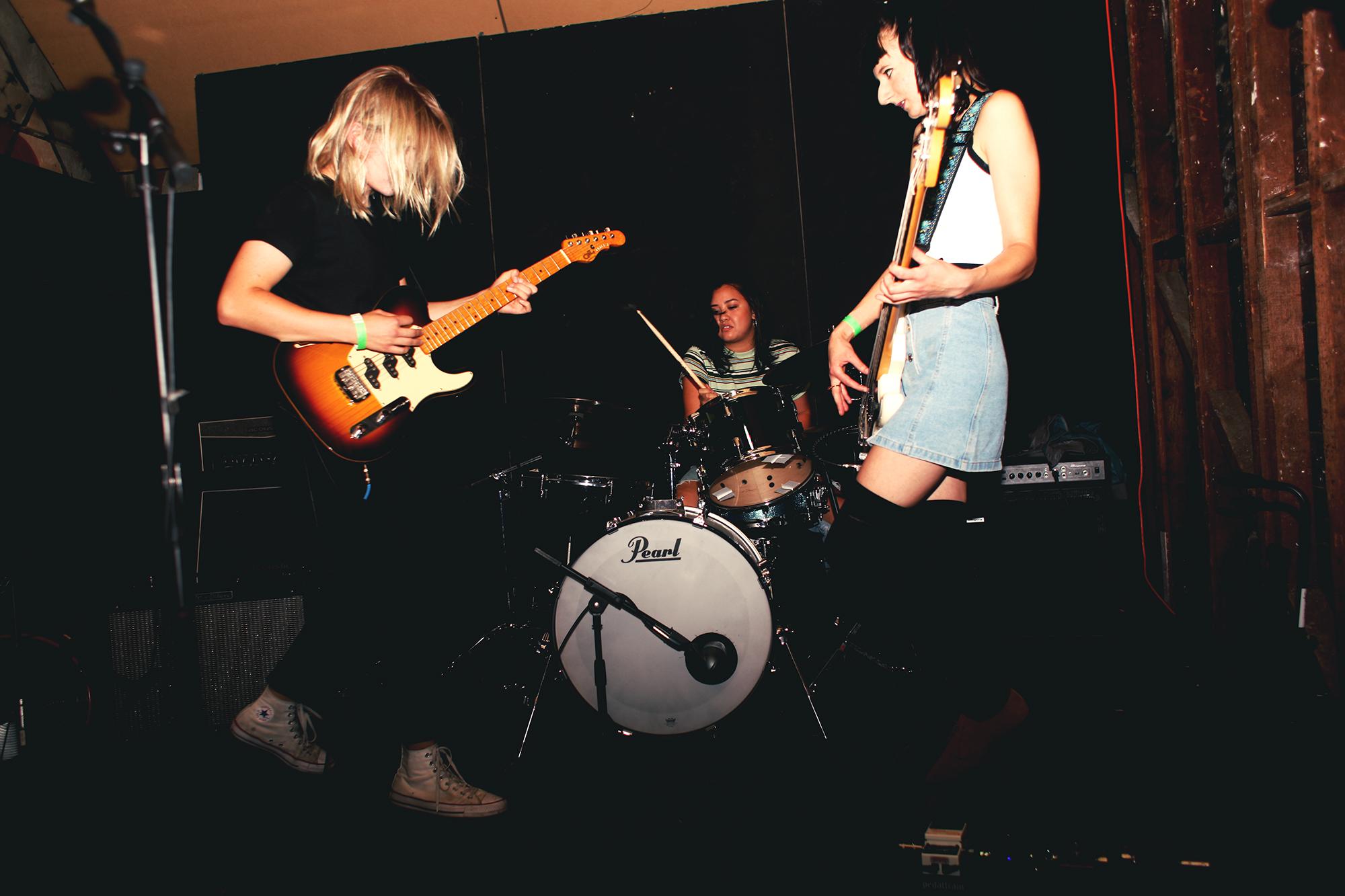 Liv Slingerland - Guitar/Vox | Genna Projansky - Bass/Background Vox | India Pascucci - Drums  Live at The Lost Room for Echo Park Rising 2017  Photo by Shabnam Ferdowsi for Buzzbands LA