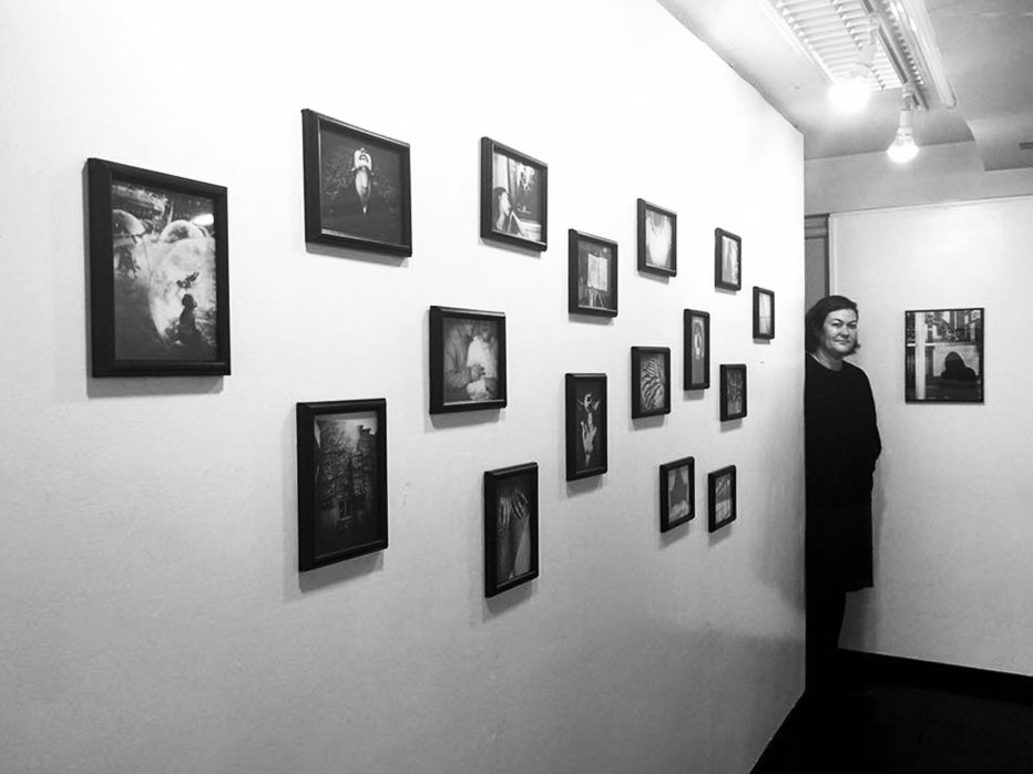 Meg amongst her installation at the  Punctum x Tokyo  exhibition at Place M Gallery in Tokyo, Japan.