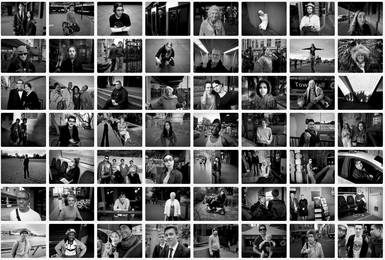 Sydney Street Portraits (contact sheet for August 2014) © Jon Lewis (used with permission)