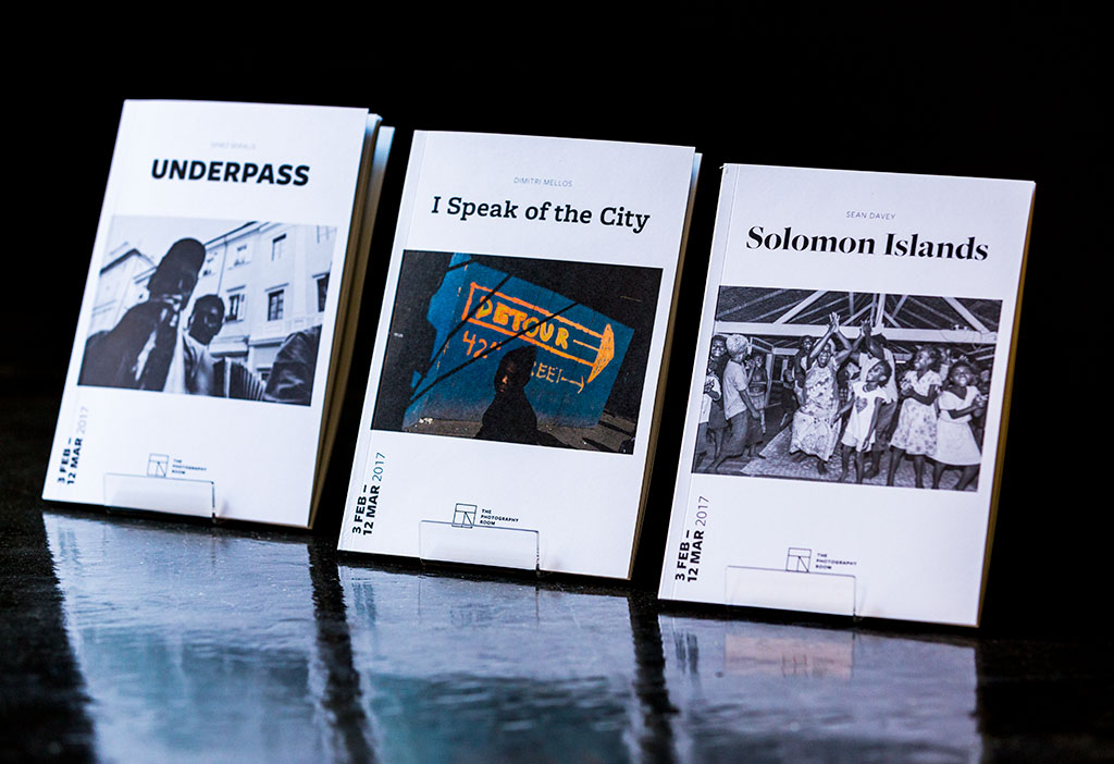 32-page exhibition catalogues: (l to r) Spiro Miralis 'Underpass', Dimitri Mellos 'I Speak of the City' and Sean Davey 'Solomon Islands'.