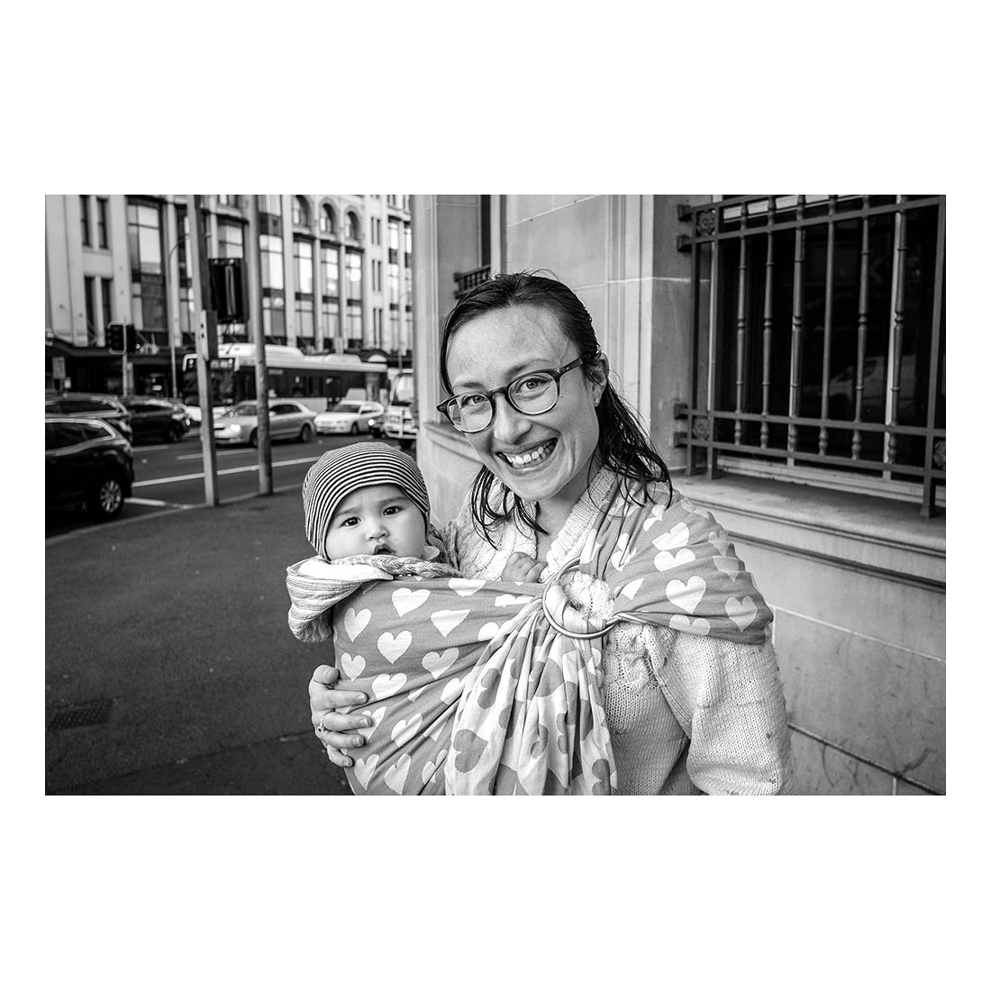 Mother and child, cnr. City Rd and Broadway.   (June, 2015).