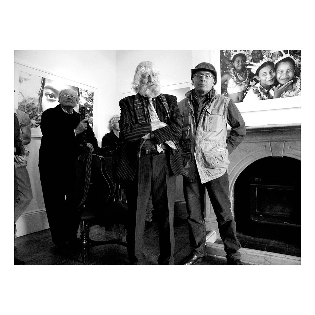 Reverend Gary     Shearston    , Martin Sharp and Jon Lewis, Goulburn, 2010    This was taken at Jon's exhibition opening at South Hill Gallery in Goulburn. It looks posed but it's not. Artist Martin Sharp was giving the opening speech. Gary Shearston played a song at the opening and did a whole gig afterwards. I'd known Jon for a few years, I first met him when I was working at the National Museum back in 2000, I'd met Martin before and this was the only time I met Gary. They've all done great work that has influenced my own art. It was fantastic to get this photo with all three of them together.