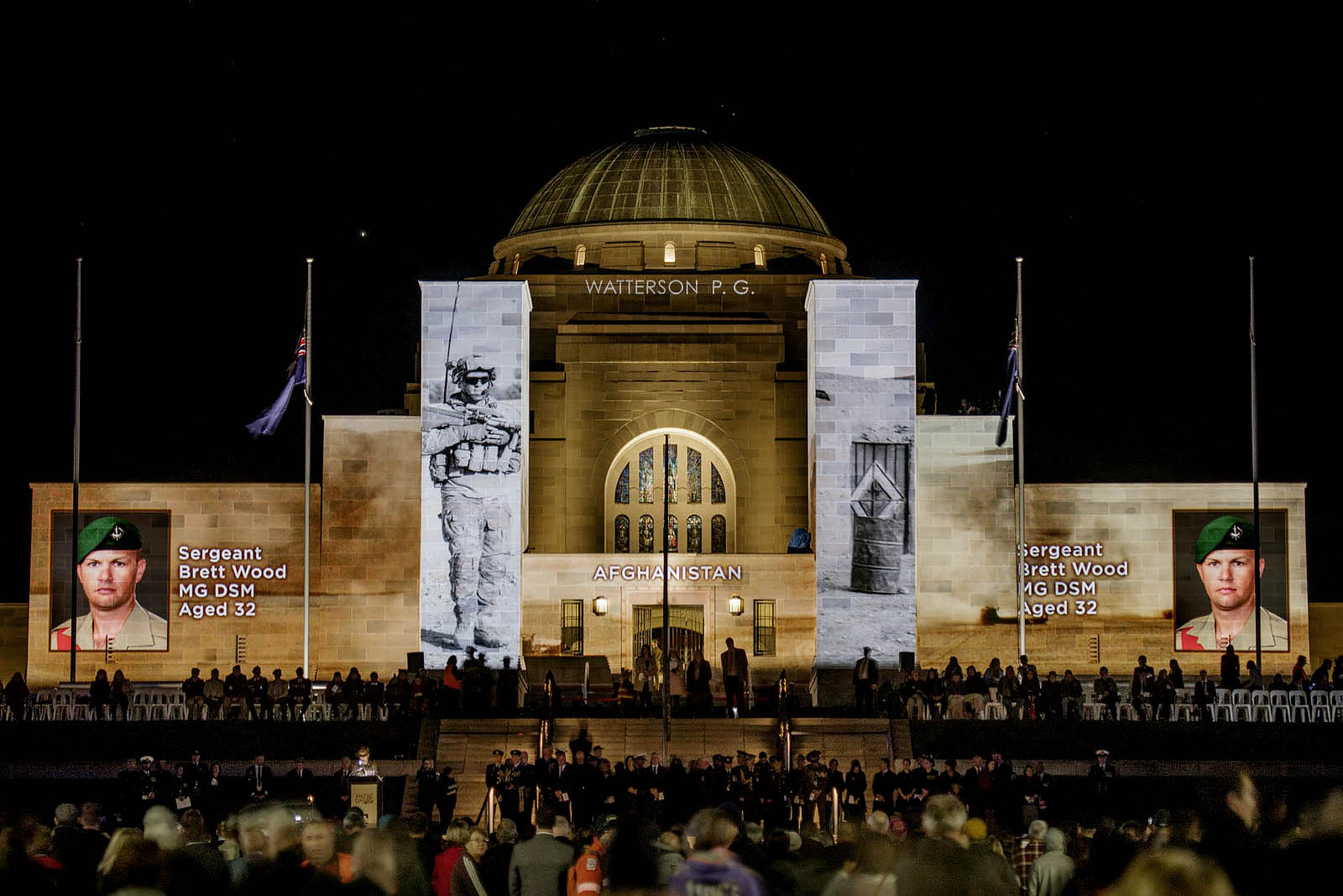 Images from Gary Ramage's series 'Afghanistan' (2011) were projected on to the Australian War Memorial as part of the 2018 ANZAC Day Dawn Service commemorations.