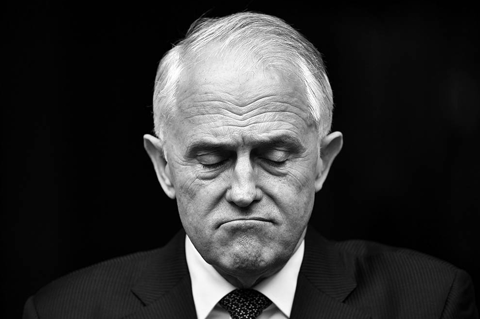 "Thursday 23 August 2018  Prime Minister Malcolm Turnbull takes a pause while delivering a press conference in the Prime Minister's Courtyard at Parliament House. Turnbull said that he would only call a Party Room Meeting when he viewed the list of 43 signatures on the petition that was supposedly circulating at the time.  The 43rd signature was that of Far North QLD MP Warren Entsch, who, under his own name signed ""For Brendan Nelson"", referring to Malcolm's successful challenge against Nelson for the Liberal Leadership in 2008.  Photograph by Mick Tsikas/Australian Associated Press"