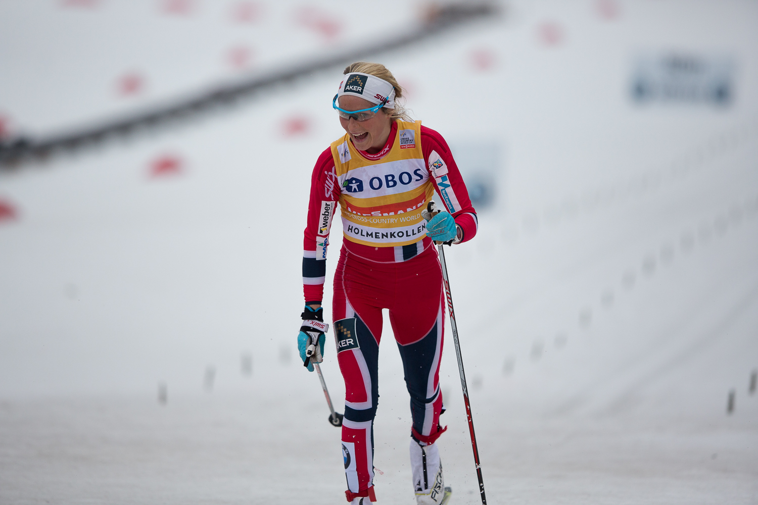 Therese Johaug crossed the finish line in 2nd place.