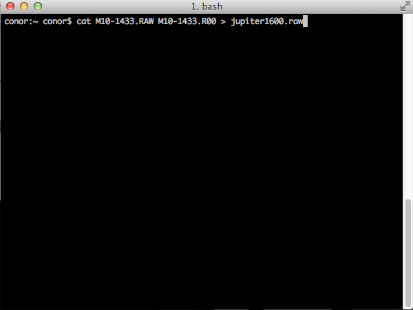The UNIX command run in a MAC OSX Terminal Window