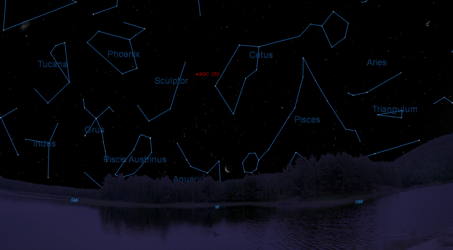 The position of NGC 253 when standing in Brisbane at approx 9:30pm on the 27th December. Image from Starry NIght 6.