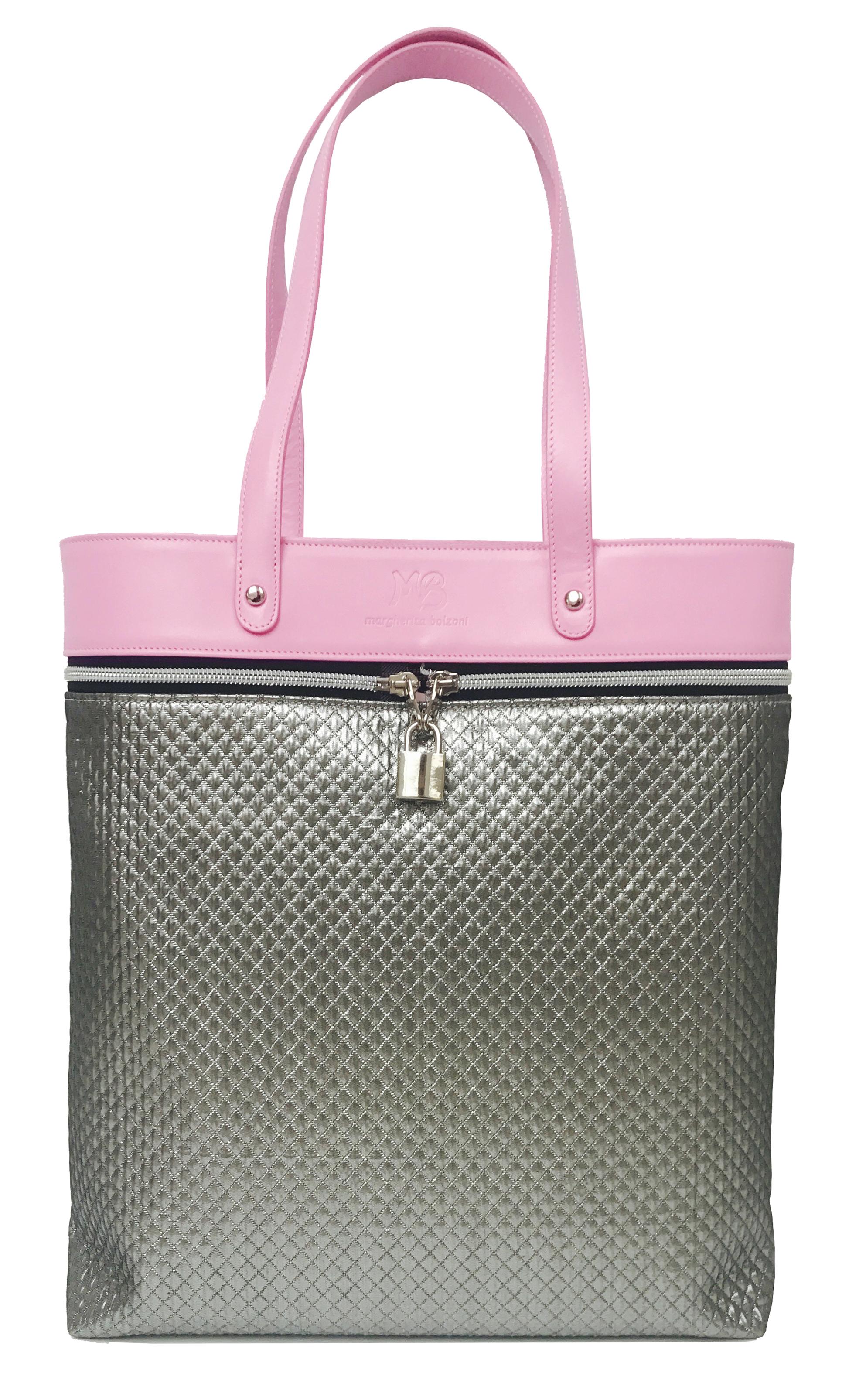 BE WRIGHT TOTEDIMENSIONS:32x36x10cmMATERIALS: Italian Leather & Textile.ACCESSORIES COLOUR:Silver -