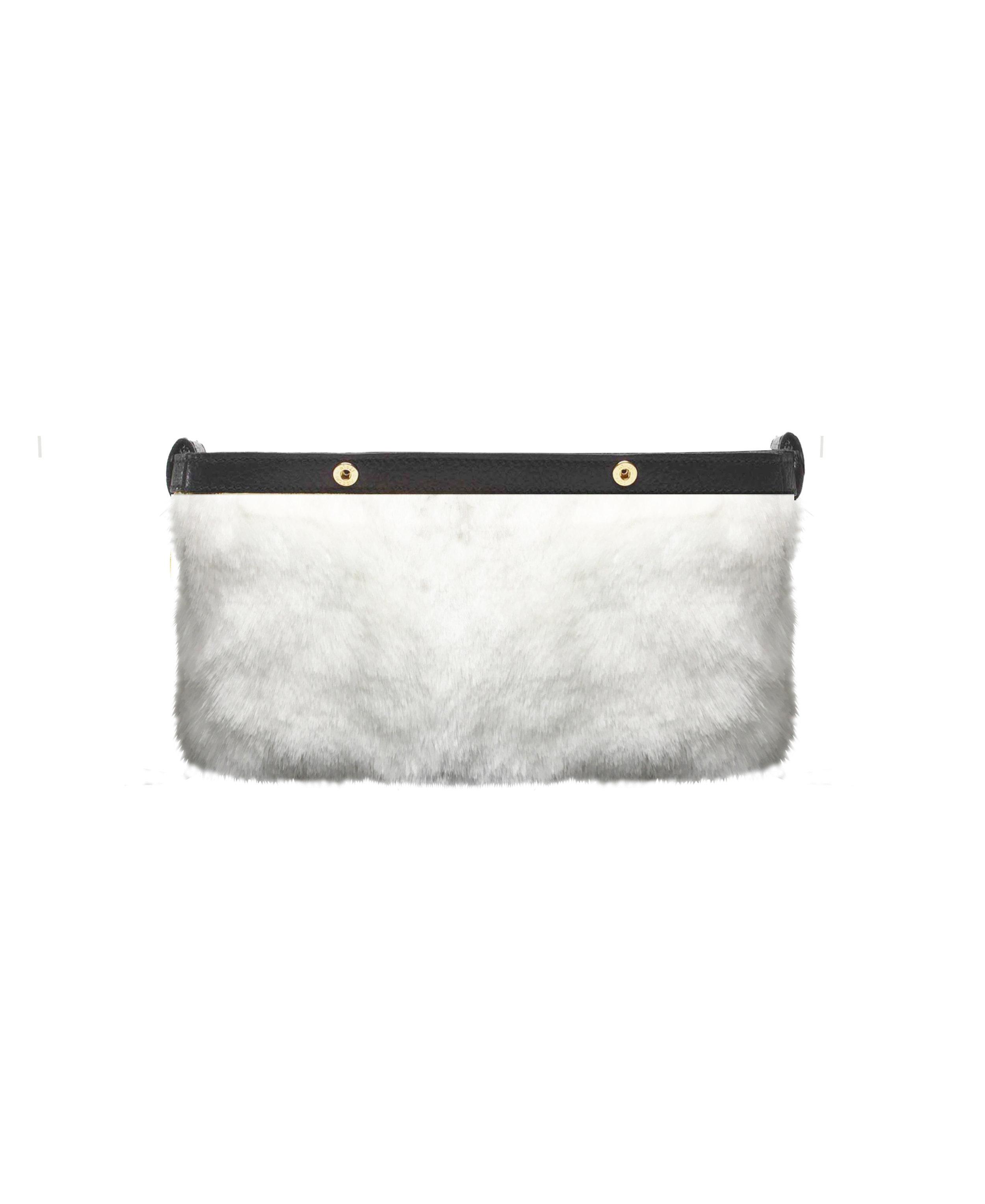 Be Fuller Clutch - White eco fur Inner bag