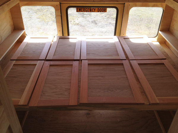 The assembled cabintry doors waiting for the glue to dry.