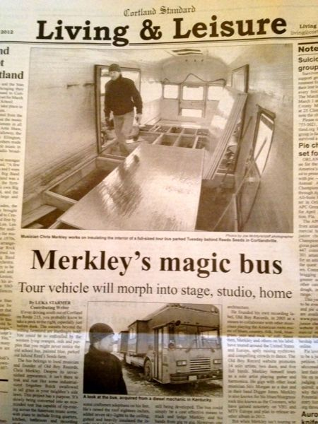 In the middle of all the insulation work the Cortland Standard ran an article on the bus. The magic bus.