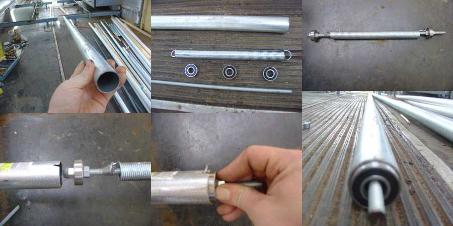 This is a series of photos showing the assembly of the spring-loaded rollers for one of the slide out awnings.  They are basically just really big window shades with retractable rollers so the fabric of the awnings will stay tight when the slides are out and then roll back up on the tube when the slides pull in.