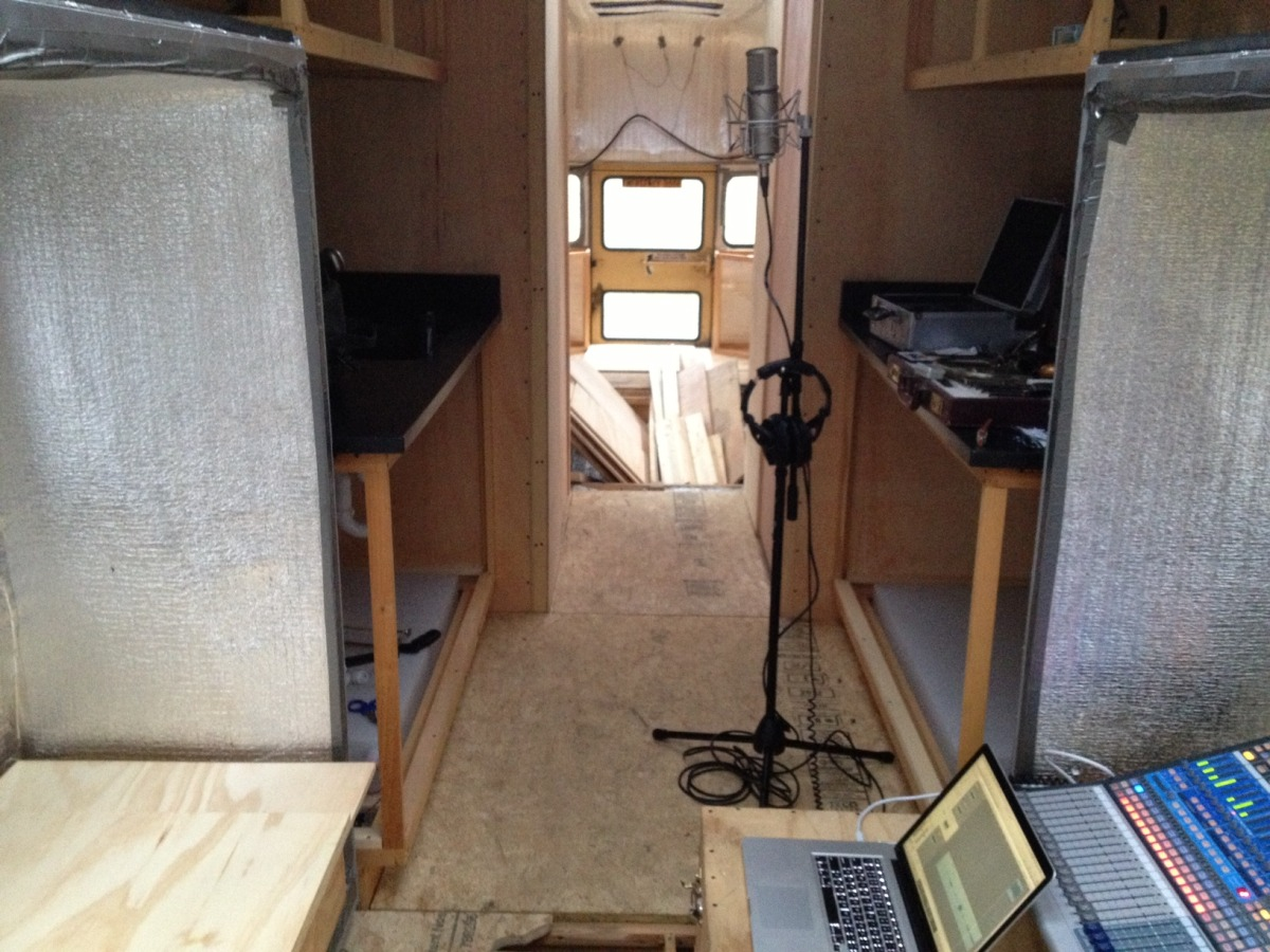 Temporary recording studio set up to capture the first recordings on the bus!