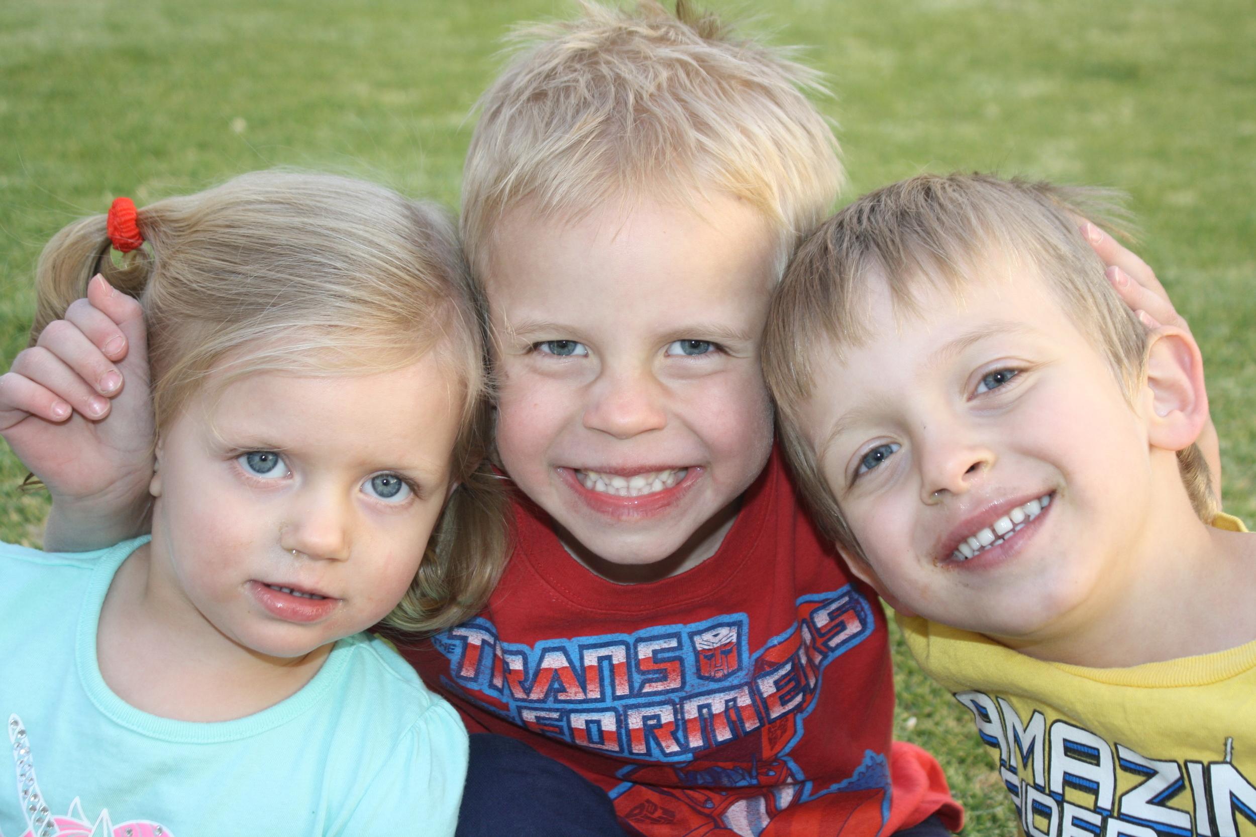 From the left: Maya Morgan (2), Evan Froud (5), Lorenzo Morgan (4)