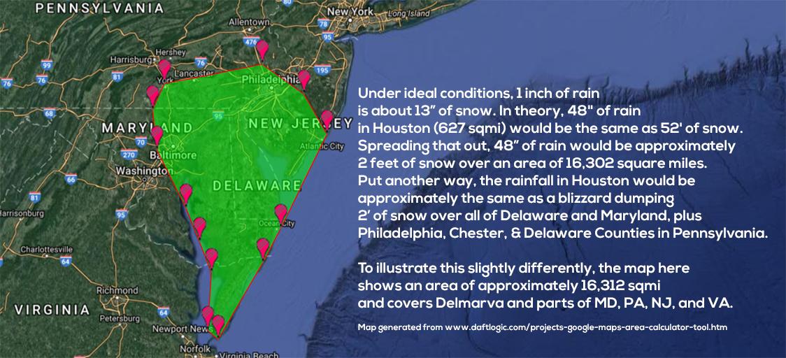 "A #harvey #perspective - if 1"" rain ≈ 13"" snow→48"" rain in #Houston ≈ 52' snow over 627 sqmi ≈ 2' snow over 16k sqmi."