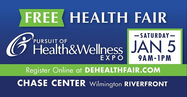 Happy new year! Free health fair this weekend at the Chase Center - Sat. Jan. 5 from 9 am to 1 pm! Stop by and visit with the more than 60 exhibitors looking to help you improve your health and wellness in 2019. Don't miss! #dehealthfair