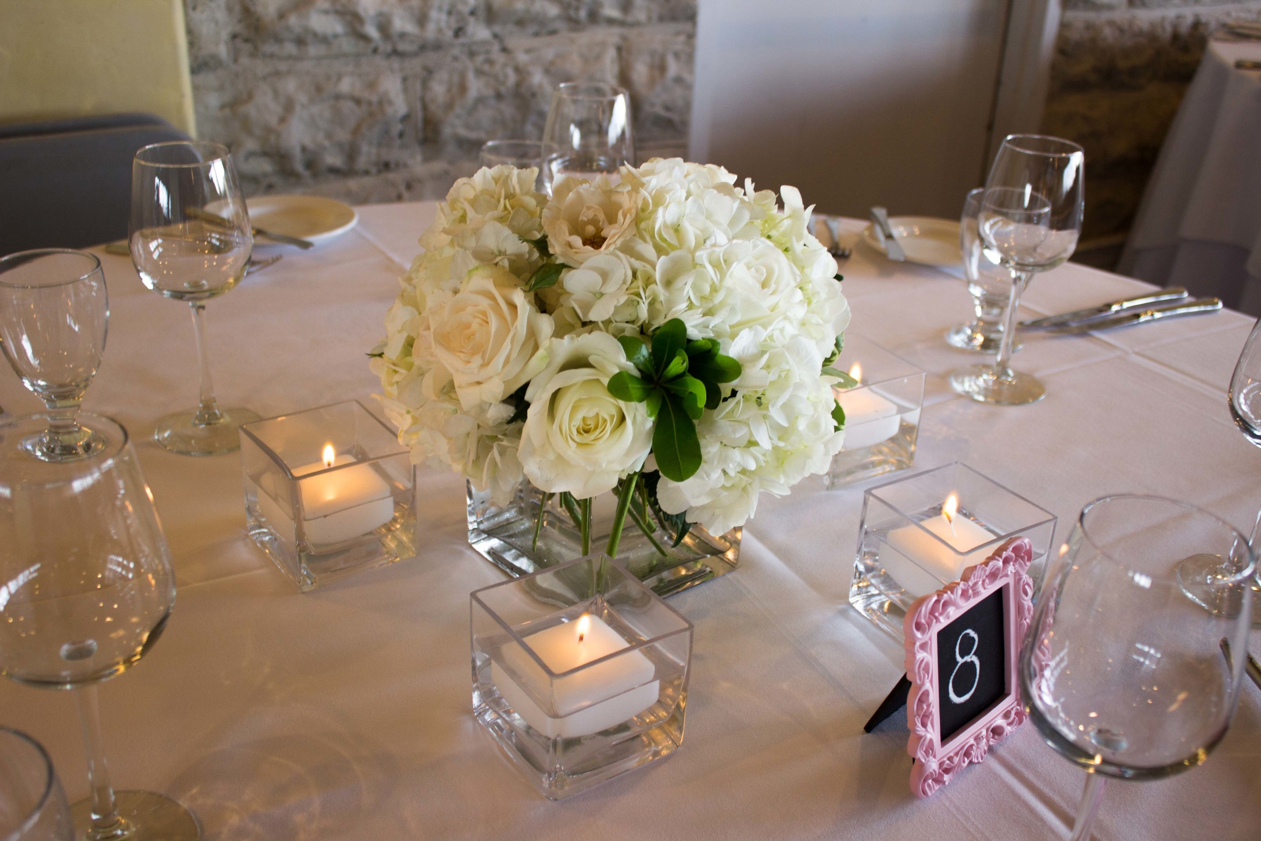 Centrepieces for the guest tables.
