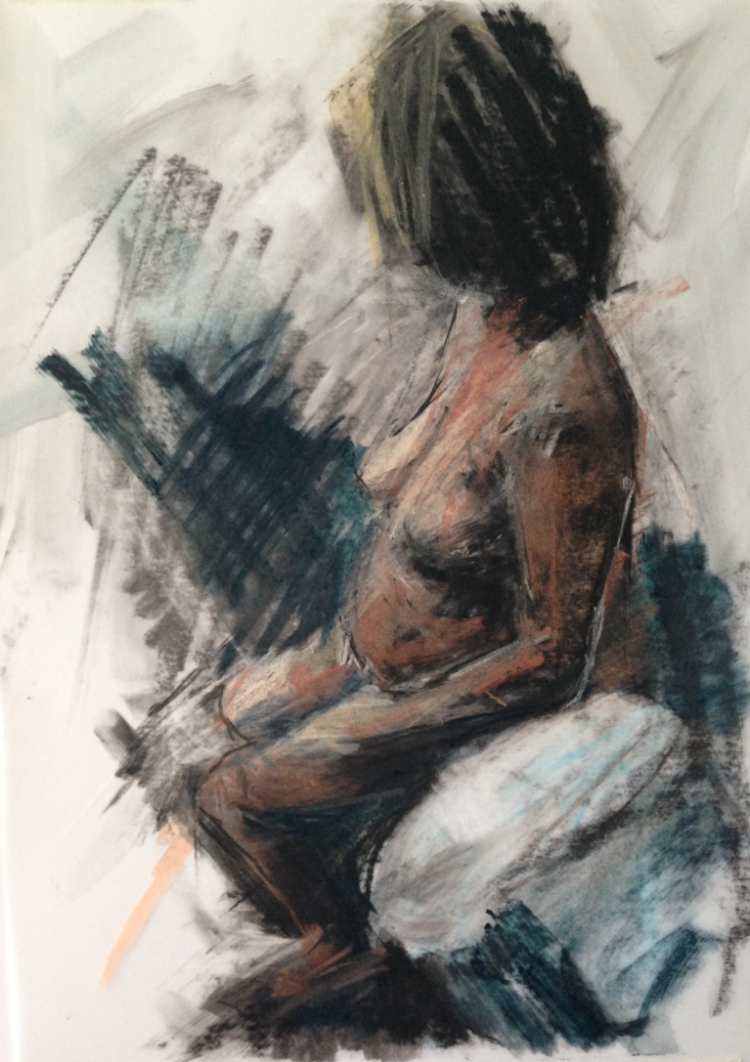 Figure Drawing MC, 21 x 29.7cm.  Conte, Charcoal and pastel on drafting film