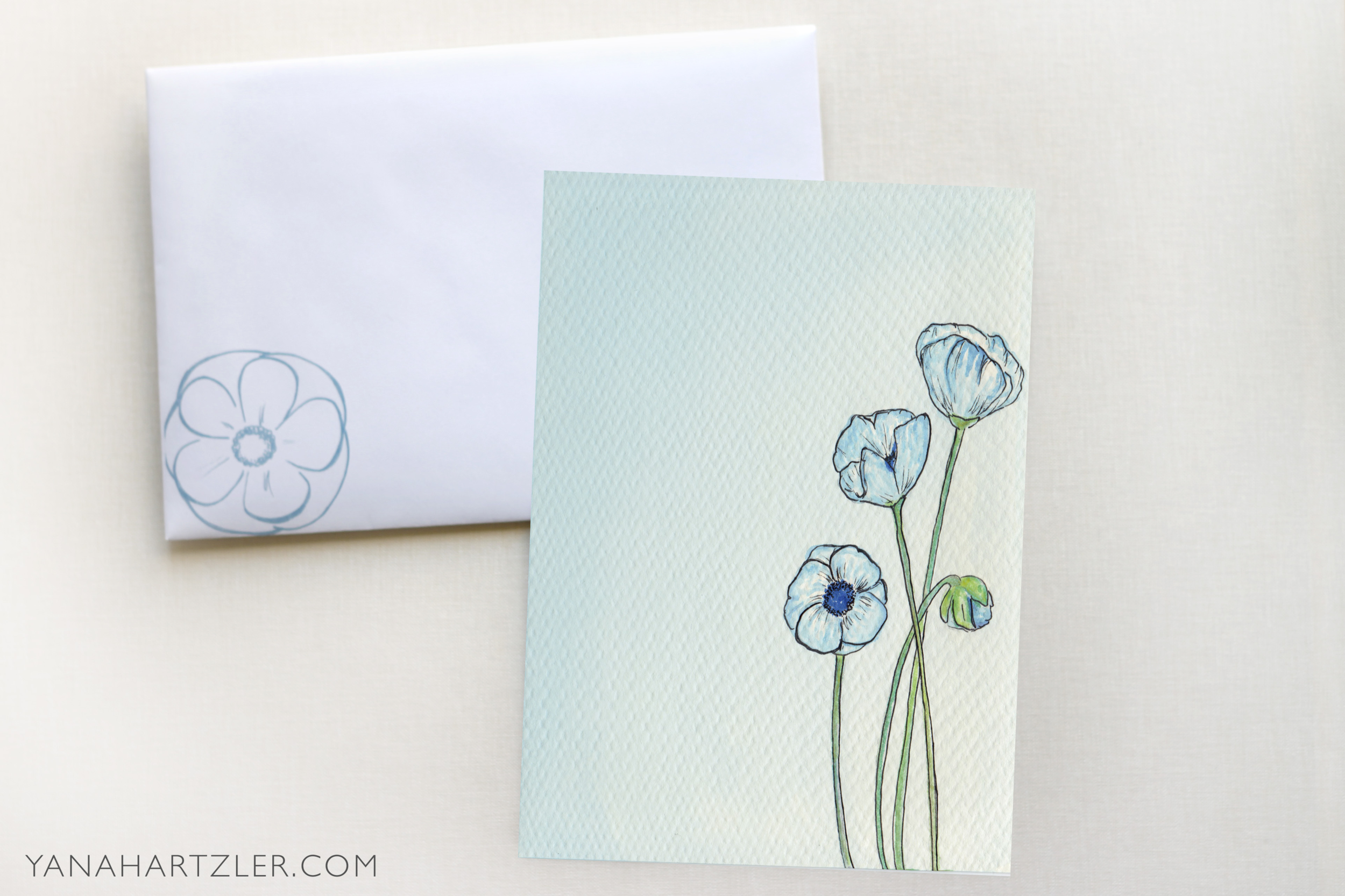 The front of the envelope and the back of the invitation.