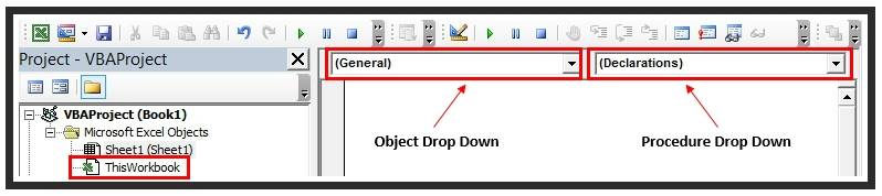 Workbook Events Object & Procedure Drop Downs