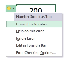 Convert text to number dialog