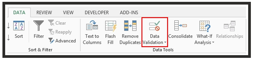 Data Validation Menu in Excel Ribbon