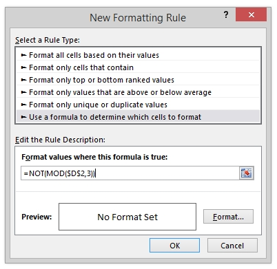 New Formatting Rule Dialog Excel Conditional Formatting