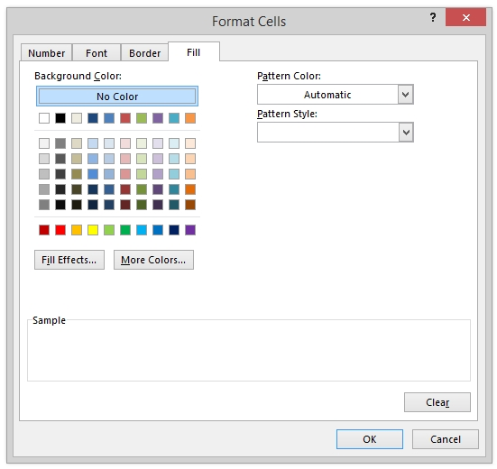 Format Cells Dialog Excel Conditional Formatting Fill Tab