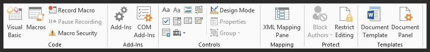 Microsoft Word Developer Ribbon 2013