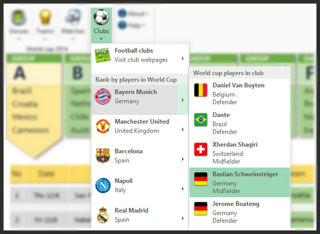 FIFA 2014 World Cup Brazil Excel Predictions Template Football Clubs
