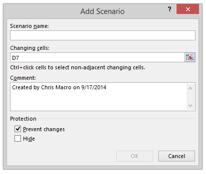 Scenario Manager Password Protection Prevent Changes Hide Checkboxes