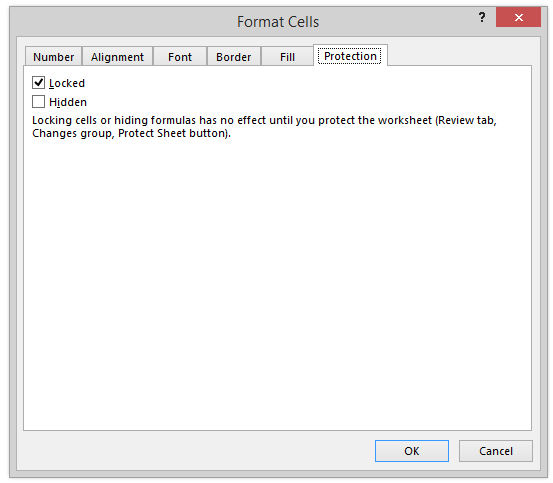 Format Cells Dialog Box Protection Locked Checkbox