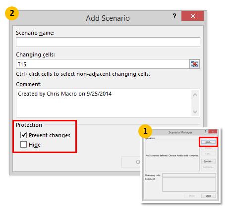 Data Tab > What If Analysis > Scenario Manager