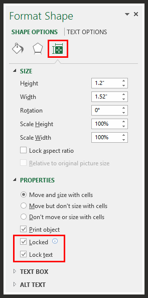 Right Click on Shape > Size & Properties > Properties