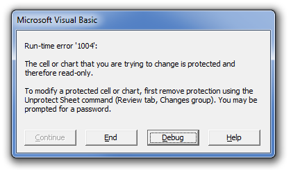 This run-time error pops up if you try to run a macro that makes a modification to something that is currently protected