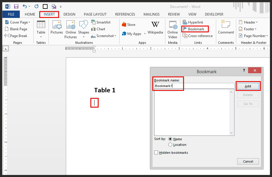 How To Add A Bookmark In Microsoft Word Document