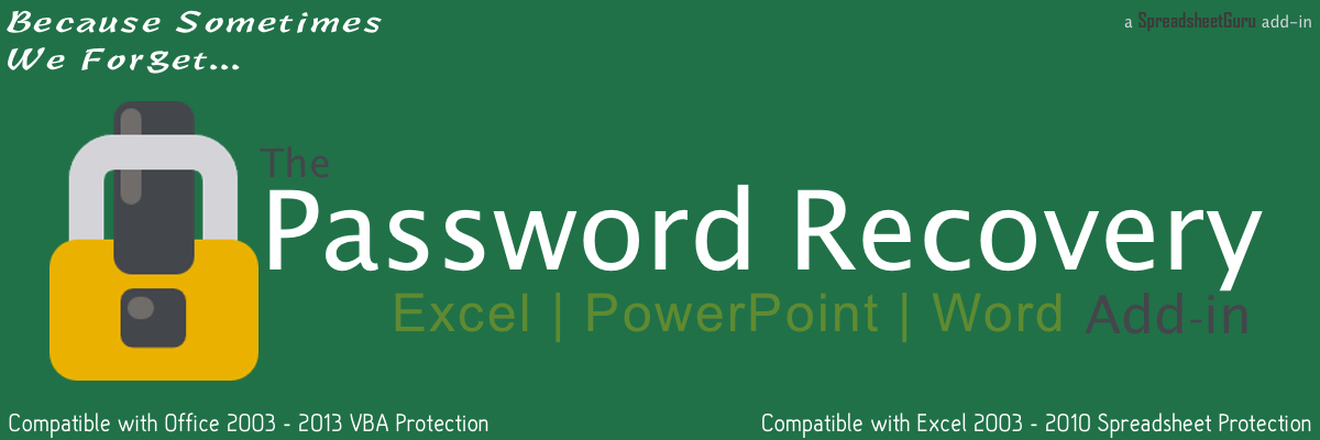 Excel PowerPoint Word Password Protection Removal and Recovery Add-ins