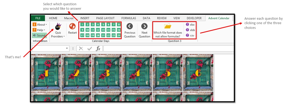 Microsoft Excel Christmas Advent Countdown Calendar Quiz Game Overview