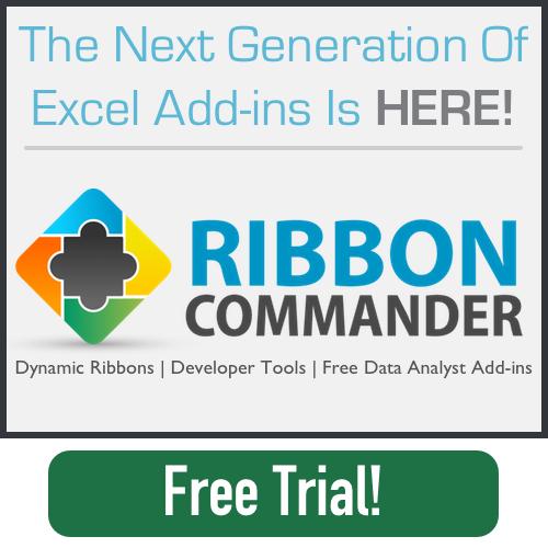 Ribbon Commander Excel Framework Ribbon Add-in